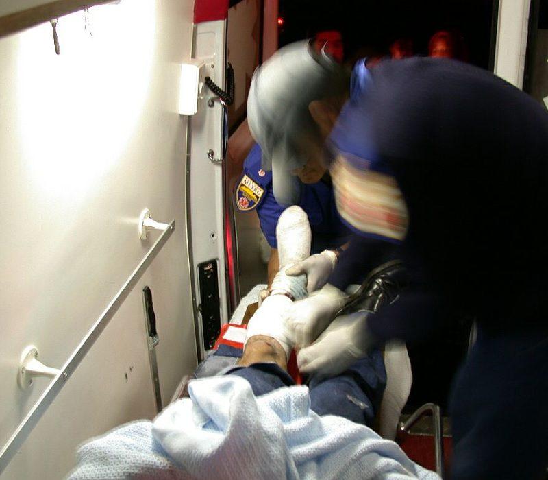 Patientenversorgung am Bein