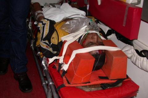 Patient im Rettungswagen